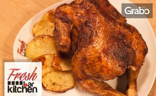 Комбо меню с половин или цяло пиле или свински джолан на BBQ