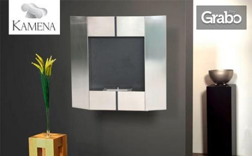 Модерна стенна камина от неръждаема стомана, с рамка в цвят по избор