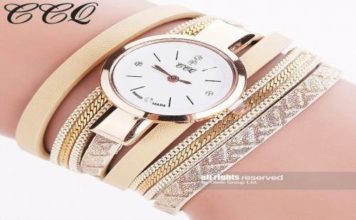 Кожена гривна часовник CCQ с магнитно закопчаване