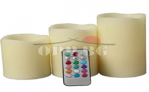 3 броя Безпламъкови ароматни LED свещи с дистанционно