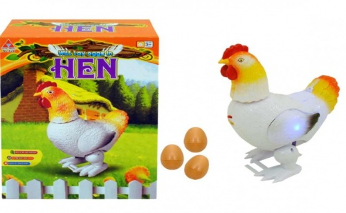 Музикална движеща се кокошка, снася яйца