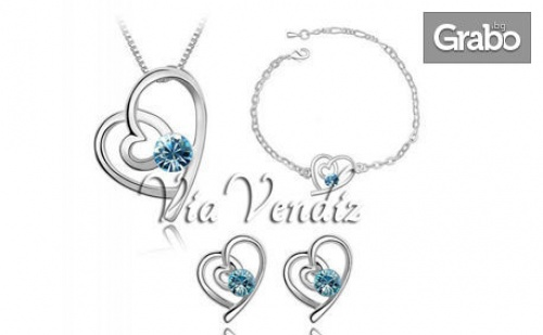 Комплект бижута Романтик Харт - колие, обеци и гривна със сребърно покритие и кристали