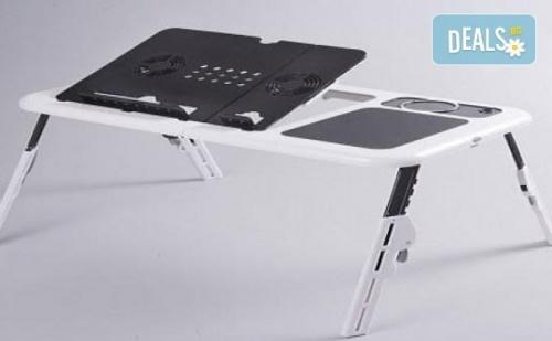 За Вашето удобство! Преносима и сгъваема маса E-table за лаптоп с 2 броя вградени вентилатори от Магнифико!