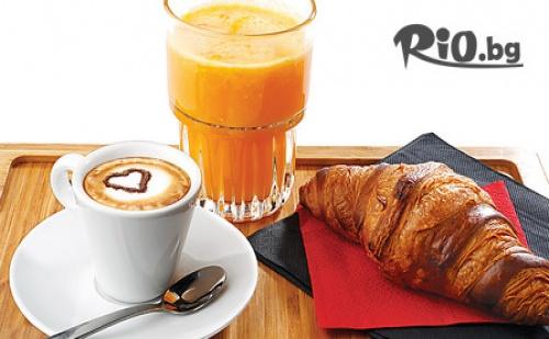 Ароматно Виенско кафе, Фреш от портокал /250 мл/ и 2 мини кроасанчета с шоколад, от Кафе Мелани - в центъра на Пловдив