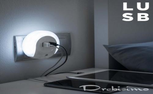 2 в 1 - нощна лампа и двоен USB порт