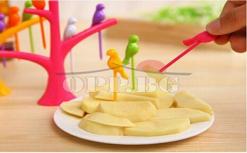 Сет 6 бр Пластмасови Шишчета за Плодови и Други Хапки