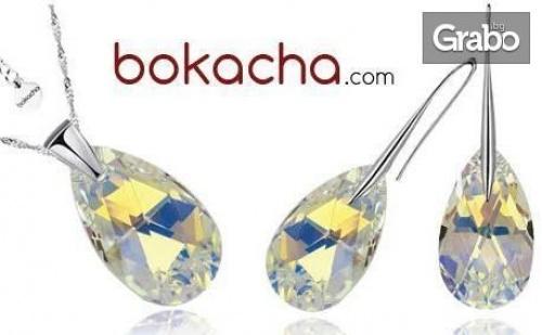 Колие, обеци или сет Pear Drop с кристали Swarovski® в бял цвят