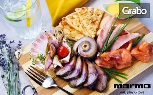 Букет Свежи Салати с Козе Сирене, Печено Свинско Месо на Конци или Октопод със Салатка