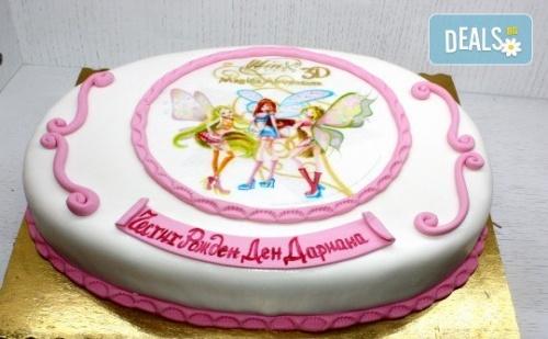 Детска Торта с Декорация уинкс! от Пандишпан, Ванилов и Шоколадов Мус, Безплатен Надпис и Кутия, 16 или 20 Парчета, от Сладкарница Сладост!