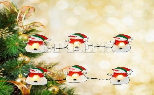 10 Броя Коледни Лампички Снежко