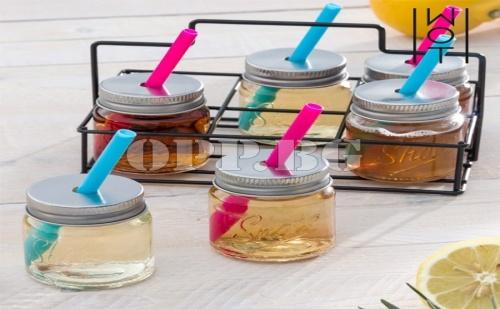 Чаши за Шот с Капак, Сламка и Метален Кош Wagon Trend (6 Броя)