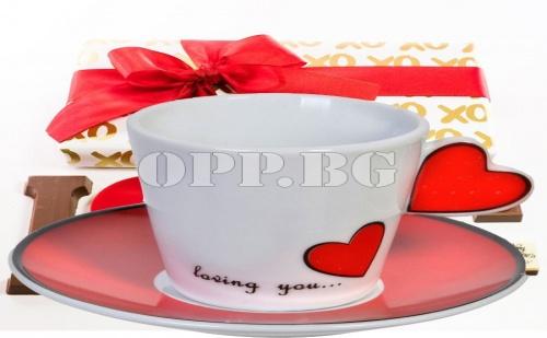 2 Броя Керамични Чаши за Кафе или Чай с Чинийка Love