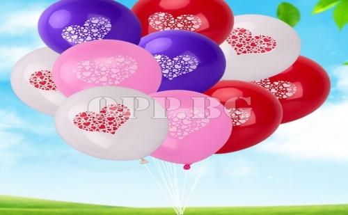 10 Броя Бели Балони с Сърце