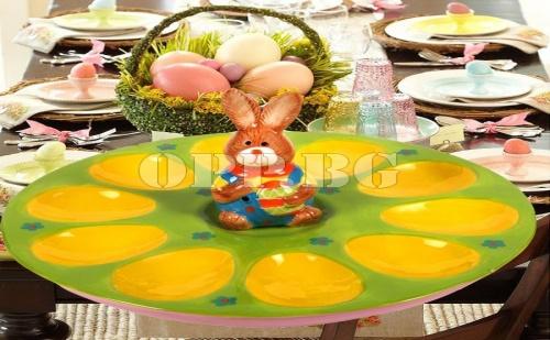 Керамична Чиния за 10 Броя Великденски Яйца Зайче