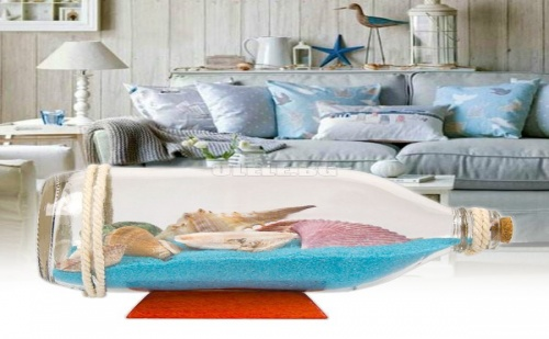 Декоративна Бутилка с Пясък и Миди