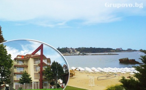 10 - 31 Август Море на Първа Линия! Нощувка със Закуска, Обяд и Вечеря в Хотел Крим Панорама, Между Равда и Несебър