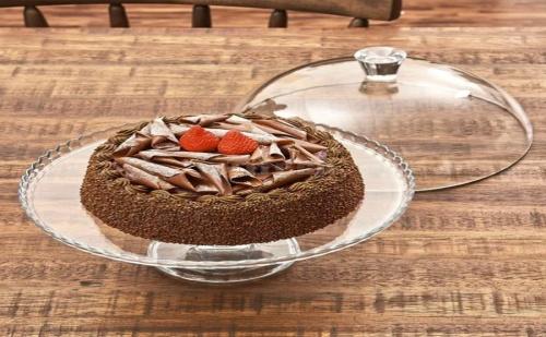 Стъклено Плато за Торта на Столче с Капак