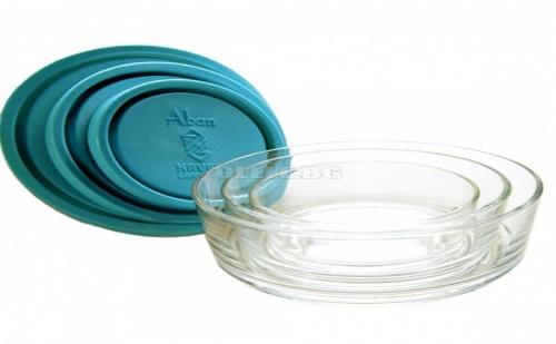 Комплект 3 Броя Стъклени Купи с Капак Kaveh Aban