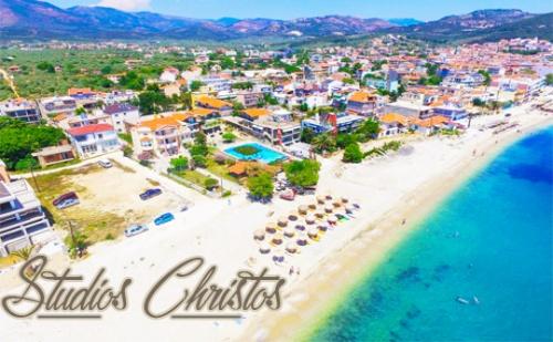 Цяло Лято в Christos Hotel Studios, на Самия Плаж в Лименария, <em>Тасос</em>! Нощувка Закуска и Вечеря + Басейн