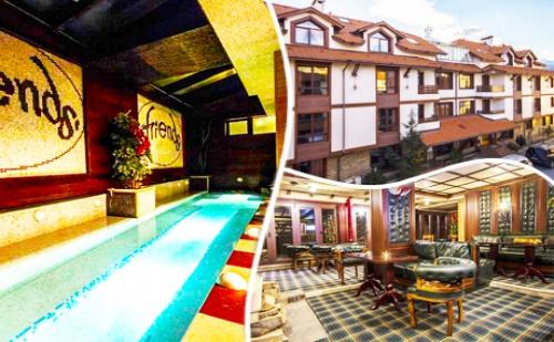 Лято в Банско! Нощувка със Закуска и Вечеря + Напитки + Голямо Джакузи само за 33 лв. в Хотел Френдс