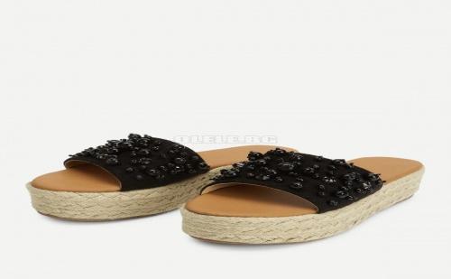 Черни дамски чехли с перли Faux Pearl Espadrille Platform Wedges