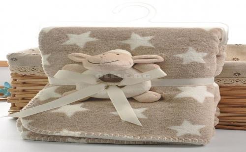 Бебешко одеало Star Print Baby Blanket With Sheep