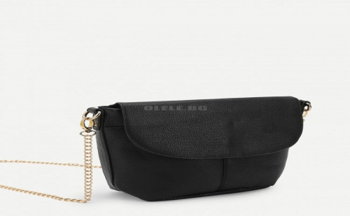 Черна дамска чанта PU Flap Shoulder Bag With Chain Strap