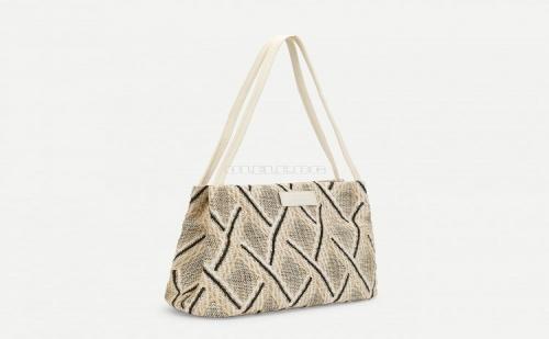 Бежова Дамска Чанта Diamond Laser Cut Woven Bag