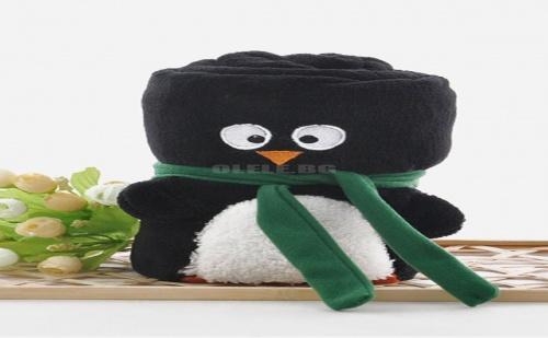 Бебешко Одеало Пингвин Penguin Roll Up Fluffy Baby Blanket