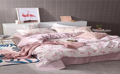Двулицев Плик за Завивка Flamingos and Heart Print Duvet Cover
