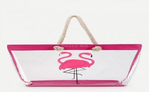 Плажна Прозрачна Чанта с Фламинго Flamingo Pattern Tote Bag