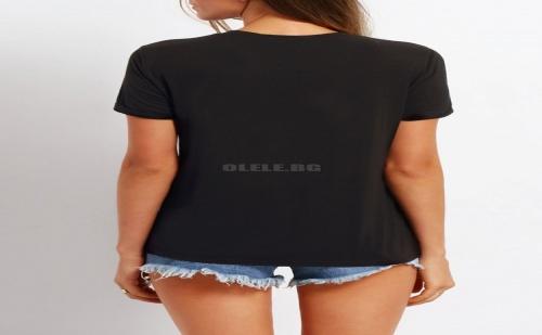 Дамска тениска Black Crew Neck Letter Print Casual T-shirt