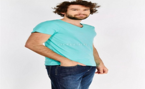 Мъжка Тениска Blue V Neck T-Shirt