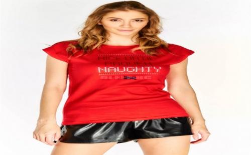 Дамска тениска Red Slogan Cap Sleeve T-Shirt