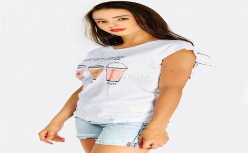 Дамска тениска White Cotton Printed T-Shirt