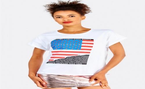 Дамска тениска White Printed Cotton T-Shirt