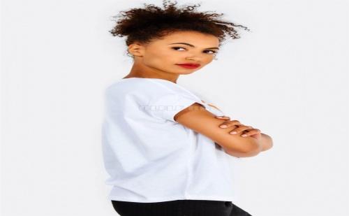 Дамска тениска White Cotton T-Shirt With Front Print
