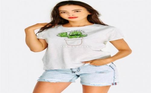 Тениска с кактус Light Grey Cotton T-Shirt With Embroidered Cactus