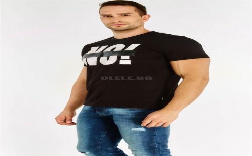 Мъжка тениска Black Slogan T-Shirt