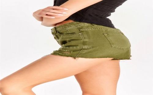 Накъсани къси панталонки Military Green Denim Shorts With Rips