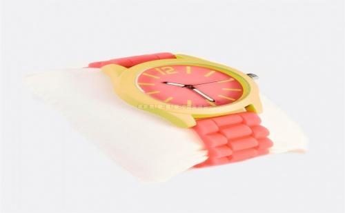 Дамски часовник Pink Watch With Yellow-Green Details