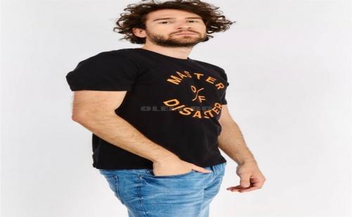Мъжка тениска с принт Black Slogan T-Shirt