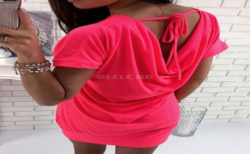 Дамска рокля тениска Fashion Pocket Open Back Tied Casual T-shirt Dress