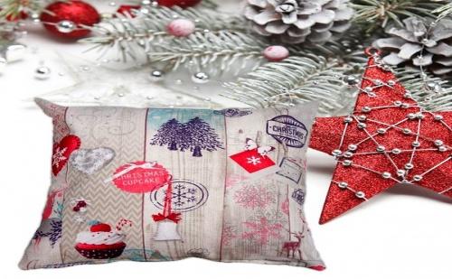 Синя Коледна Възглавница By Loom In Bloom