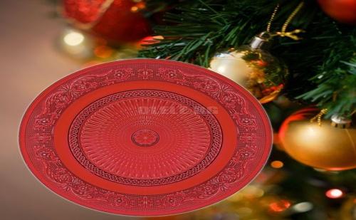 Червено Стъклено Плато с Орнаменти