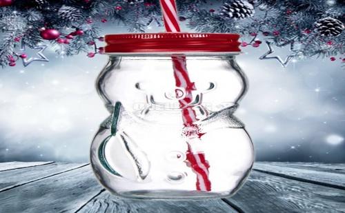 Коледен Буркан със Сламка Снежен Човек