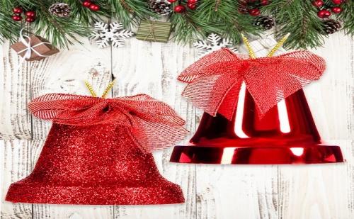 Сет 4 бр Червени Коледни Камбанки