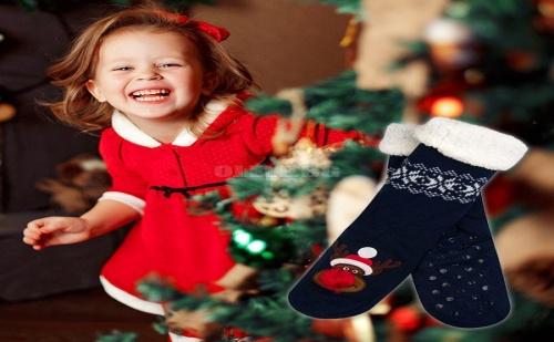 Детски Коледни Чорапки Еленче с Червен Нос