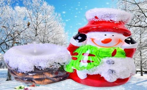 Коледен Керамичен Свещник Снежно Човече