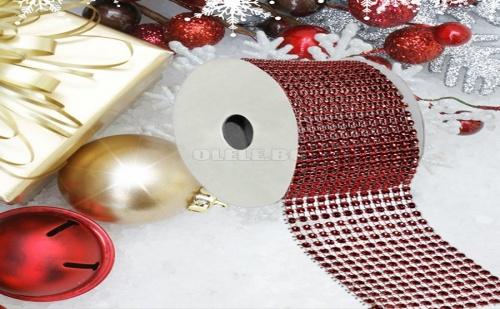 Декоративна Коледна Лента Червени Камъчета